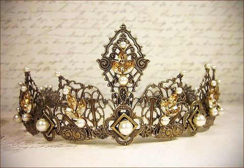 Elizabethan Tiara - Golden Shadow Navette Stones and Cream Pearls - Antiqued Brass - Rabbitwood & Reason