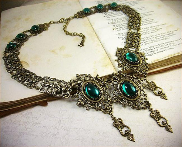 Chateau Necklace - Emerald - Antiqued Brass - Rabbitwood & Reason