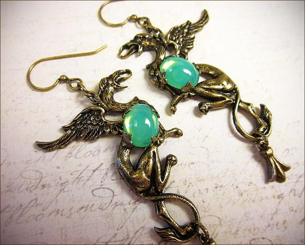 Gryphon Earrings - Spring Green - Antiqued Brass - Rabbitwood & Reason