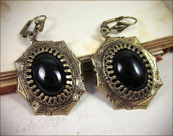 Medieval Earrings Antiqued Brass - Black - Rabbitwood & Reason