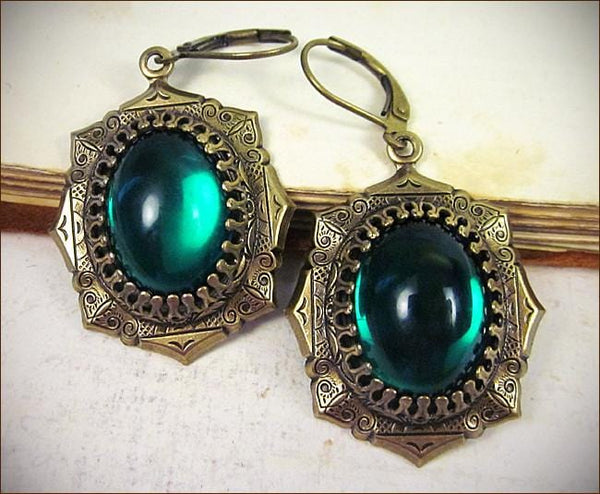 Medieval Earrings Antiqued Brass - Emerald - Rabbitwood & Reason