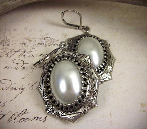 Medieval Earrings Antiqued Silver - White Pearl - Rabbitwood & Reason