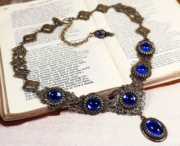 Lucia Necklace - Sapphire - Antiqued Brass - Rabbitwood & Reason