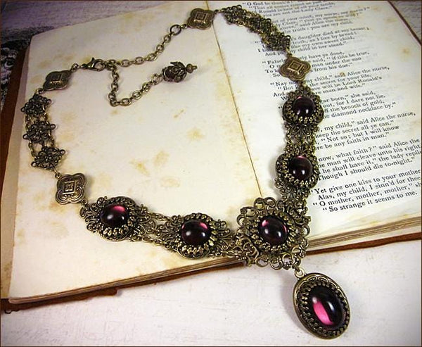 Lucia Necklace - Amethyst - Antiqued Brass - Rabbitwood & Reason