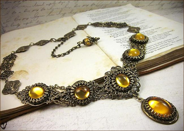 Lucia Necklace - Topaz - Antiqued Brass - Rabbitwood & Reason