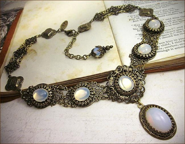 Lucia Necklace - White Opal - Antiqued Brass - Rabbitwood & Reason