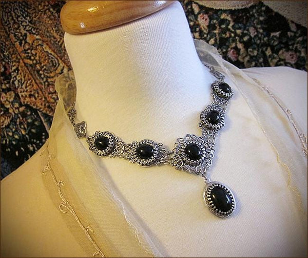 Lucia Necklace - Black - Antiqued Silver - Rabbitwood & Reason