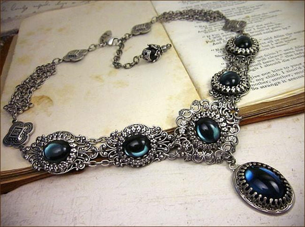 Lucia Necklace - Twilight Blue - Antiqued Silver - Rabbitwood & Reason