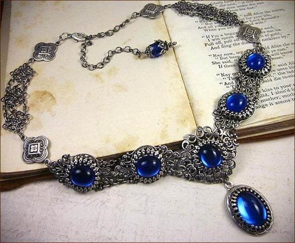 Lucia Necklace - Sapphire - Antiqued Silver - Rabbitwood & Reason