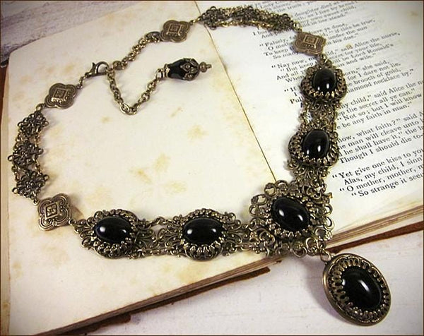 Lucia Necklace - Black - Antiqued Brass - Rabbitwood & Reason