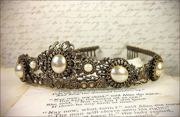 Lucia Tiara - Cream Pearl - Antiqued Brass - Rabbitwood & Reason