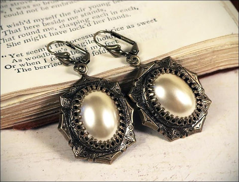 Medieval Earrings Antiqued Brass - Cream Pearl - Rabbitwood & Reason