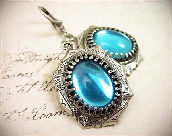 Medieval Earrings Antiqued Silver - Aquamarine - Rabbitwood & Reason
