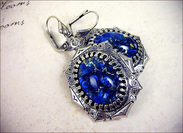 Medieval Earrings - Art Glass Stones - Antiqued Silver