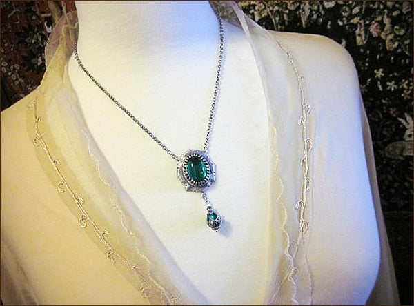 Medieval Pendant Necklace Antiqued Silver - Emerald - Rabbitwood & Reason