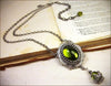 Medieval Pendant Necklace Antiqued Silver - Olivine - Rabbitwood & Reason