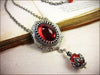 Medieval Pendant Necklace Antiqued Silver - Ruby - Rabbitwood & Reason