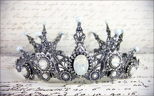 Avalon Tiara - Pearl Color: Powder Blue - Centerpiece Stone: White Opal - Accent Crystals: White Opal - Antiqued Silver - by dosha of Rabbitwood & Reason