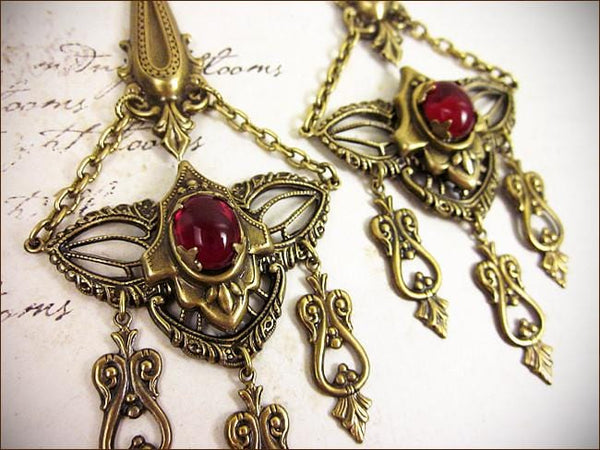 Millicent Chandelier Earrings - Ruby - Antiqued Brass - Rabbitwood & Reason