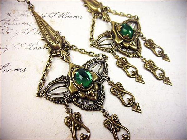 Millicent Chandelier Earrings - Antiqued Brass