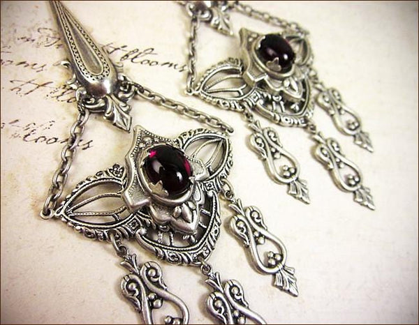 Millicent Chandelier Earrings - Garnet - Antiqued Silver - Rabbitwood & Reason