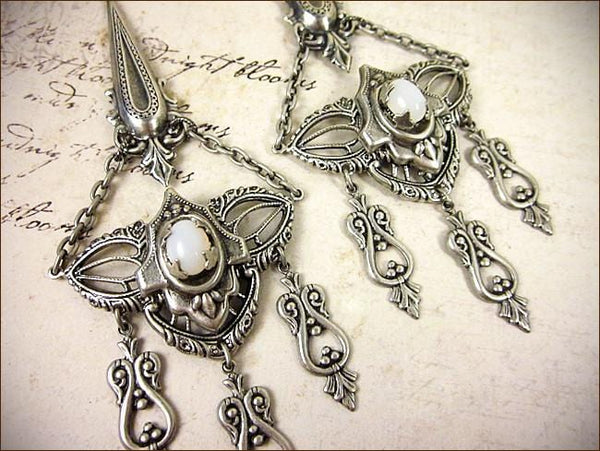 Millicent Chandelier Earrings - White Opal - Antiqued Silver - Rabbitwood & Reason