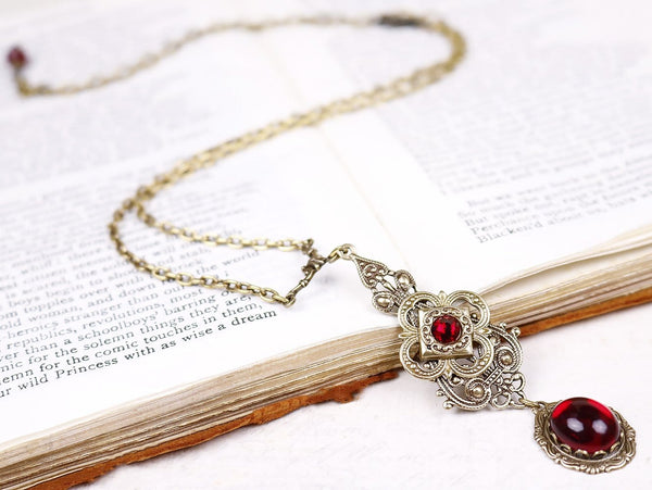 Avalon Pendant Necklace Antiqued Brass - Garnet - Rabbitwood & Reason