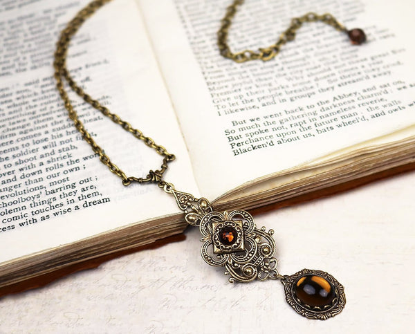 Avalon Pendant Necklace Antiqued Brass - Smoked Topaz - Rabbitwood & Reason