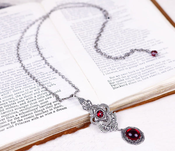 Avalon Pendant Necklace Antiqued Silver - Garnet - Rabbitwood & Reason