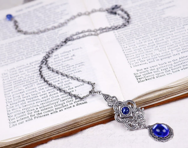 Avalon Pendant Necklace Antiqued Silver - Sapphire - Rabbitwood & Reason