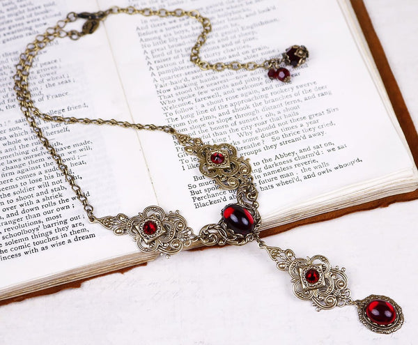 Avalon Ornate Necklace in Garnet - Antiqued Brass - Rabbitwood & Reason