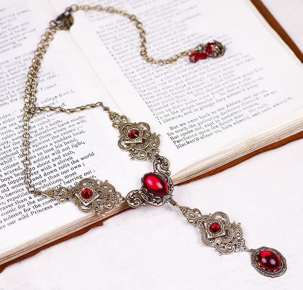 Avalon Ornate Necklace in Ruby - Antiqued Brass - Rabbitwood & Reason