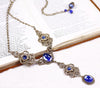 Avalon Ornate Necklace in Sapphire - Antiqued Brass - Rabbitwood & Reason