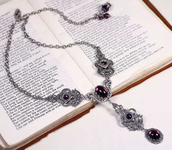 Avalon Ornate Necklace in Amethyst - Antiqued Silver - Rabbitwood & Reason