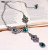 Avalon Ornate Necklace in Emerald - Antiqued Silver - Rabbitwood & Reason