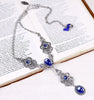 Avalon Ornate Necklace in Sapphire - Antiqued Silver - Rabbitwood & Reason