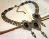 Chateau Necklace - Black - Antiqued Brass - Rabbitwood & Reason