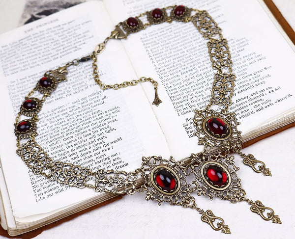 Chateau Necklace - Garnet - Antiqued Brass - Rabbitwood & Reason