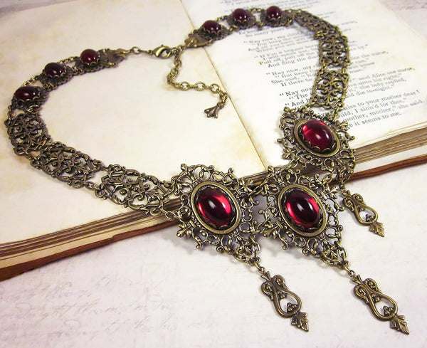 Chateau Necklace - Ruby - Antiqued Brass - Rabbitwood & Reason