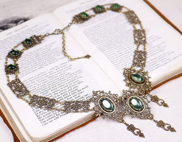 Chateau Necklace - Tourmaline Green - Antiqued Brass - Rabbitwood & Reason