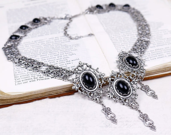 Chateau Necklace - Black - Antiqued Silver - Rabbitwood & Reason