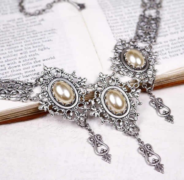 Chateau Necklace - Cream Pearl - Antiqued Silver - Rabbitwood & Reason