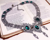 Chateau Necklace - Emerald - Antiqued Silver - Rabbitwood & Reason