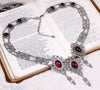 Chateau Necklace - Garnet - Antiqued Silver - Rabbitwood & Reason