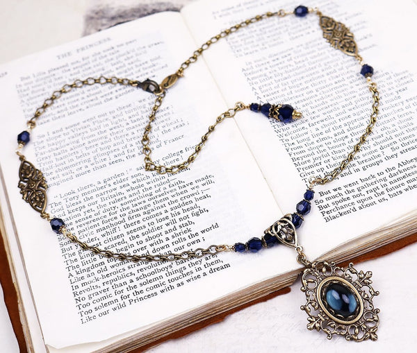 Chateau Pendant Necklace - Twilight Blue Stone & Dark Indigo Swarovski Beads - Antiqued Brass - Rabbitwood & Reason