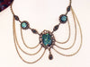 Drucilla Necklace - Teal Art Glass - Antiqued Brass - Rabbitwood & Reason