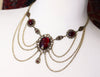 Drucilla Necklace - Garnet - Antiqued Brass - Rabbitwood & Reason
