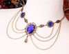 Drucilla Necklace - Sapphire - Antiqued Brass - Rabbitwood & Reason