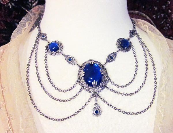 Drucilla Necklace - Sapphire - Antiqued Silver - Rabbitwood & Reason