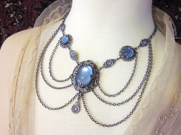 Drucilla Necklace - Sky - Antiqued Silver - Rabbitwood & Reason